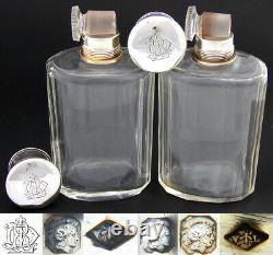 Antique French Sterling Silver & Cut Glass 6pc Vanity Set, Jars, Perfume Bottles