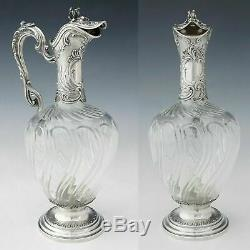 Antique French Sterling Silver Cut Glass Tall Claret Jug Wine Decanter Ewer