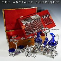 Antique French Sterling Silver Double Open Salt Cellar, Cobalt Blue Glass Liners