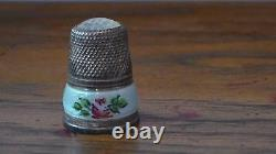 Antique German sterling silver THIMBLE with guillouche enamel and pink glass
