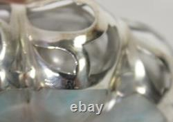 Antique Glass Scent Bottle Sterling Silver Overlay with Stopper