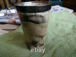 Antique Hallmarked Silver Rimmed Horn Beaker with glass Base / Cup / Goblet