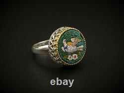 Antique Italian Dove Bird Micro Mosaic Statement Ring in Sterling Silver 6