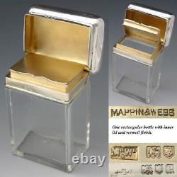 Antique Mappin & Webb Sterling Silver & Cut Glass 6pc Vanity Set, Jars, Perfume