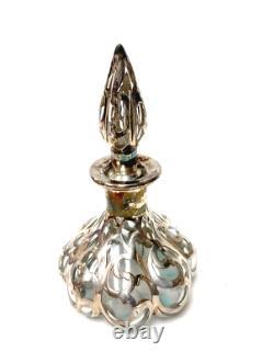 Antique Melon Shaper Glass Perfume Bottle Sterling Silver Overlay