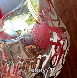Antique Penna Rye Sterling Silver Filigree Overlay Glass Whiskey Decanter Bottle