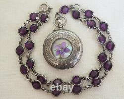 Antique Pocket Watch Locket Painted Violets Mother of Pearl Sterling Amethyst