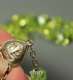 Antique Rare French Uranium Vaseline Glass Rosary Beads Necklace Sterling Silver