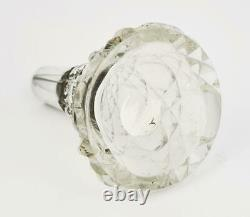 Antique STERLING SILVER MOUNTED CUT GLASS SCENT BOTTLE Chester 1921