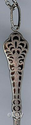 Antique Sterling Silver Black Enamel Lorgnette Eye Glasses On Chain Necklace