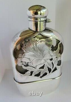 Antique Sterling Silver & Glass Crystal Hip Flip Up Flask Matthews Co. C. 1910