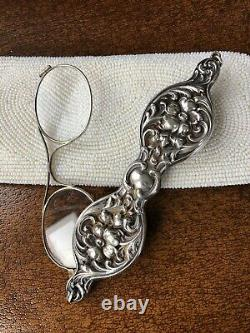 Antique Sterling Silver Lorgnette Opera Glasses Chatelaine ART NOUVEAU REPOUSSE