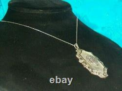 Antique Sterling Silver Marcasite Camphor Glass Pendant 18 Necklace signed