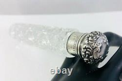 Antique Unger Bros Repousse Top Sterling Silver & Cut Glass Perfume Scent Bottle