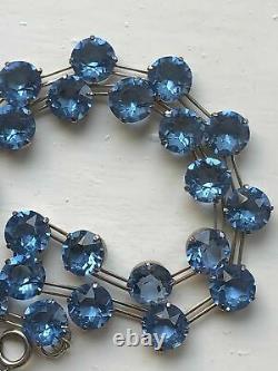 Antique VNTG Art Deco Sterling Silver Jeweled Blue Czech Glass Choker Necklace