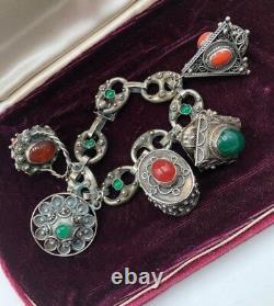 Antique VTG Art Nouveau Sterling 800 Silver Etruscan HUGE 5 Charm Bracelet Italy