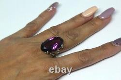 Antique Victorian Amethyst Glass Sterling Silver Exquisite Ring Sz6.5 Rg2