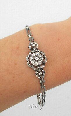 Antique Victorian Diamond Paste Silver Handcrafted Daisy Bracelet