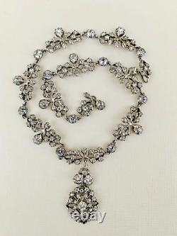 Antique Victorian Diamond Paste Sterling Silver Foiled Back Necklace, 57.6grams