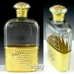 Antique Victorian English Gilded Sterling Silver Glass Liquor Whiskey Hip Flask