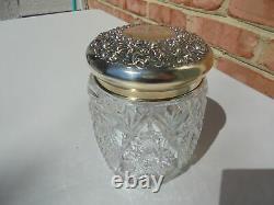Antique Victorian Era Cut Glass & Sterling Silver Cigar Humidor Jar