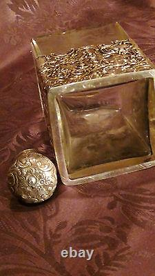 Antique Victorian Sterling Silver Overlay Collar Etched Cut Glass Decanter
