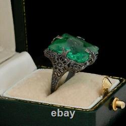 Antique Vintage Art Deco Sterling Silver Green Glass Floral Band Ring S 5 3.7g