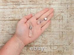 Antique Vintage Art Deco Sterling Silver Poured Glass Rose Flower HUGE Earrings