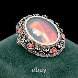 Antique Vintage Deco 800 Sterling Silver Painted Portrait Coral Pin Brooch 9.6g