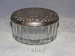 Antique, Vintage Glass Trinket Box with Sterling Silver Lid, MIrror, Heavy Lid