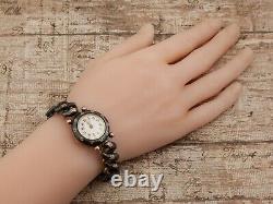 Antique Vintage Nouveau 14k Rose Gold Sterling Silver German Niello Wrist Watch