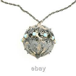 Antique Vintage Nouveau Sterling 835 Silver Turquoise Glass Pendant Necklace