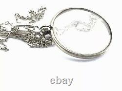 Antique Vintage Sterling Silver Double Glass Sided Mourning Locket Pendant Chain
