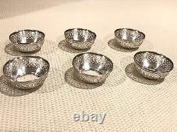 Antique Webster Sterling Silver & Glass Salt Cellar Dip Set 6 Cups 6 Spoons Ex