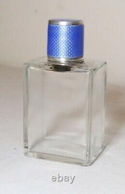Antique handmade blue guilloche enameling sterling silver perfume scent bottle