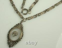 Art Deco CAMPHOR GLASS Necklace 1930s STERLING & MARCASITES 16.25 Choker FAB