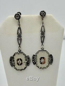 Art Deco Camphor Glass Earrings Sterling Silver Hollywood Regency C1920 Rare