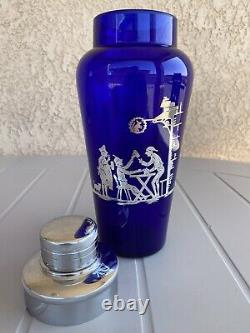 Art Deco Cobalt Blue Glass Cocktail Shaker With Sterling Silver Overlay
