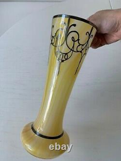 Art Deco Nouveau Sterling Silver Overlay Yellow Art Glass Vase 10 Opaline Swirl