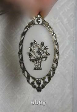 Art Deco Pendant Necklace Germany Sterling Silver Marcasites 1920s Camphor Glass