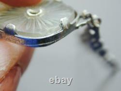 Art Deco Sterling Filigree Diamond Pink Camphor Glass Bracelet FANTASTIC