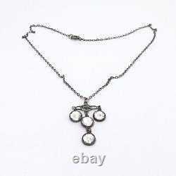 Art Deco Sterling Silver Dangle French Pastes Chandelier Pendant Necklace Sz 16