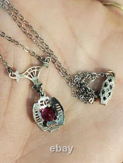 Art Deco Sterling Silver Filigree Czech Spinel Glass Paste Lavaliere Necklace