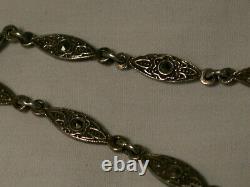 Art Deco Sterling Silver, Marcasites, Center Diamond Camphor Glass Bracelet