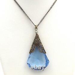 Art Deco Sterling Silver Teardrop Blue Cat Glass Pendant Chain Necklace
