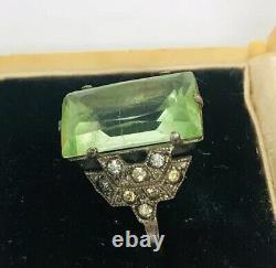 Art Deco Sterling Silver Vaseline Glass Ring Rhinestones Sz5 1/2 Vintage Jewelry