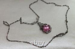 Art Deco Vintage Sterling Silver Filigree Paper clip Pink paste chain necklace