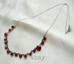Art Deco Vintage Sterling Silver Open Back Ruby Paste Demi Riviere Necklace Gift