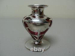 Art Nouveau Cranberry Glass Perfume Dresser Bottle, Sterling Silver Overlay