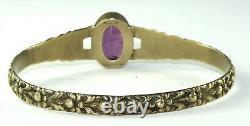 Art Nouveau Edwardian Antique Sterling Silver Amethyst Glass Bangle Bracelet